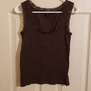 2/$25 GAP Tank Top Brown Ribbed with Lace